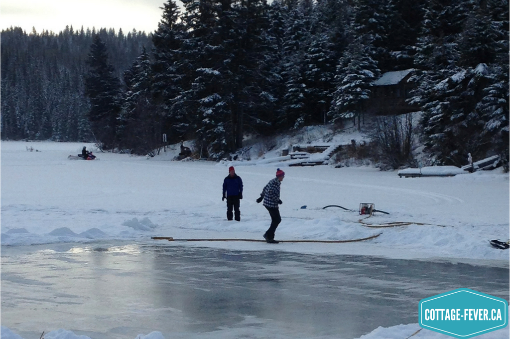 Flooding the ice for skating on a lake