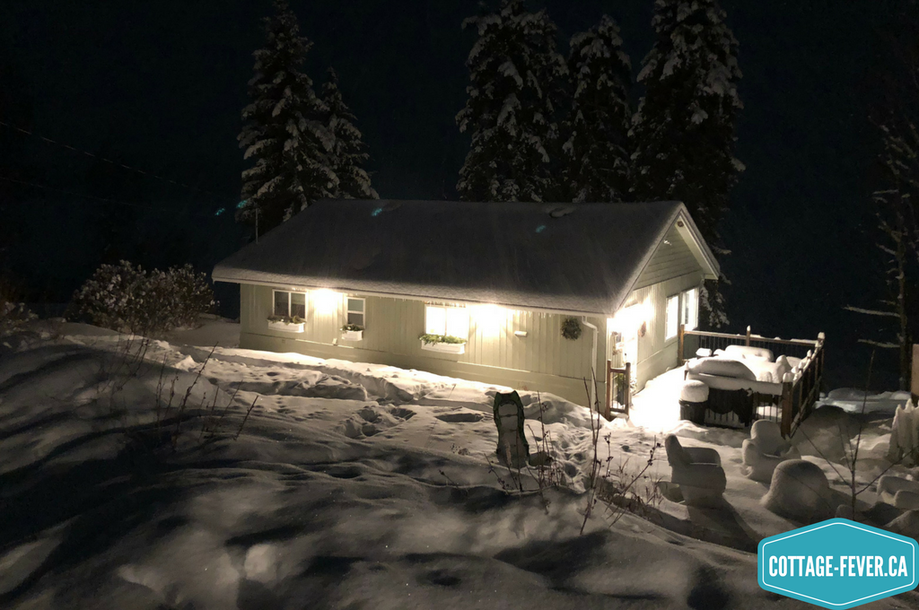 cottage, snow, night, winter